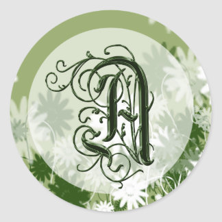 Green Floral Wedding Monogram A Seal Round Sticker