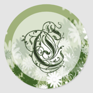 Green Floral Wedding Monogram C Seal Round Sticker