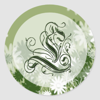 Green Floral Wedding Monogram L Seal Round Sticker