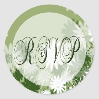 Green Floral Wedding RSVP Seal Round Sticker