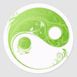 GREEN FLORAL YIN YANG DESIGN ROUND STICKERS