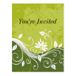 green floral - You're Invited - customisable