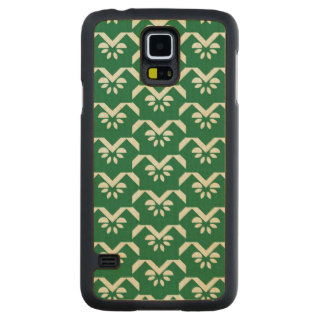 Green floral zigzag carved maple galaxy s5 case