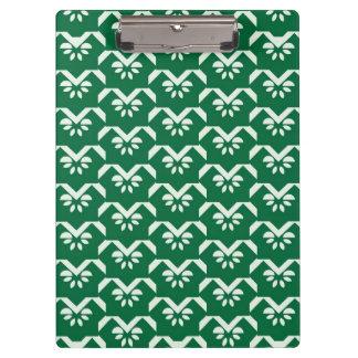 Green floral zigzag clipboard