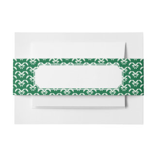 Green floral zigzag invitation belly band