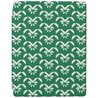 Green floral zigzag iPad cover