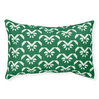 Green floral zigzag pet bed