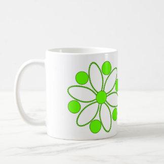Green flower and beads coffee mug