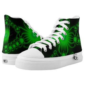 Green Flower Bloom Hi Top Printed Shoes