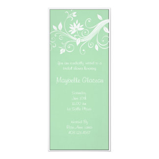 Green Flower Bridal Shower Announcements