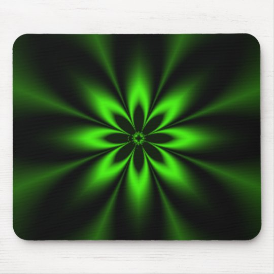Green Flower Burst Fractal Mouse Mat