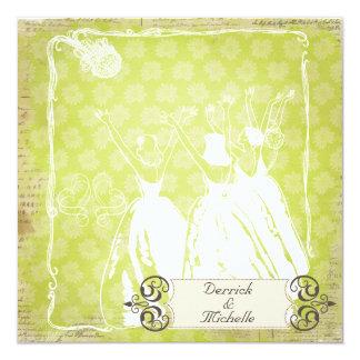 "Green Flower Burst Toss the Bouquet Wedding Invite 5.25"" Square Invitation Card"