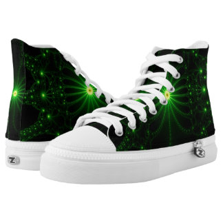 Green Flower Explosion Hi Top Printed Shoes