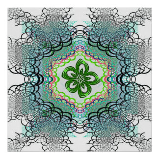 Green Flower Fractal Lace Print