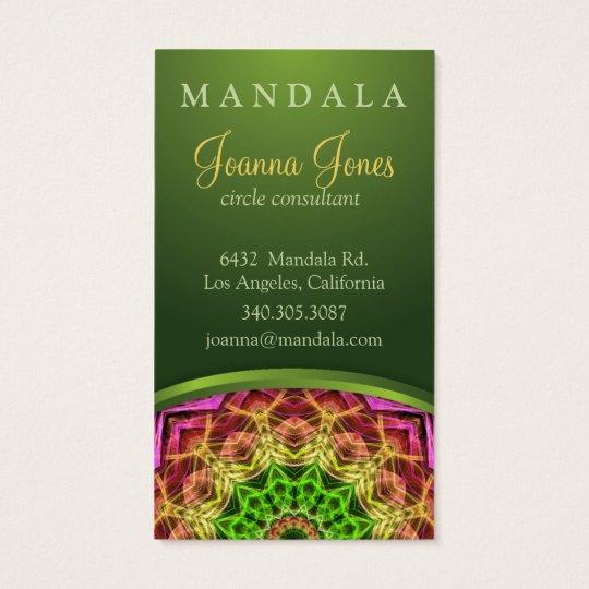 Green Flower Mandala Business Card