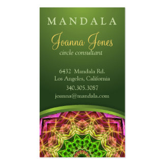 Green Flower Mandala Pack Of Standard Business Cards