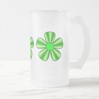 green flower mugs