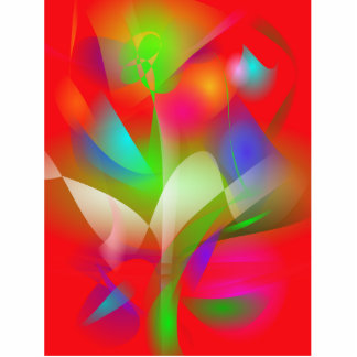 Green Flower on a Red Background Standing Photo Sculpture