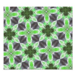 Green flower pattern photographic print