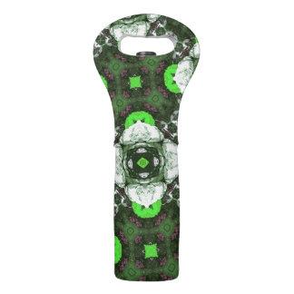 Green Flower Pattern Wine Bag