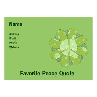 Green Flower Peace Sign Business Card Template