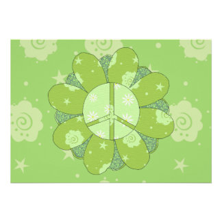 Green Flower Peace Sign Invitations