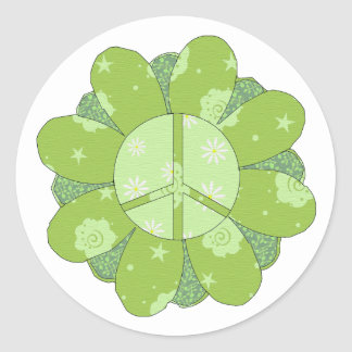 Green Flower Peace Sign Round Sticker