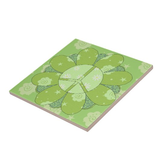 Green Flower Peace Sign Small Square Tile