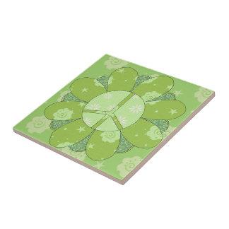 Green Flower Peace Sign Tile