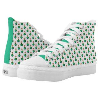 Green Flower Pottery Motif High Top Shoes