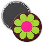 Green Flower Power 7.5 Cm Round Magnet