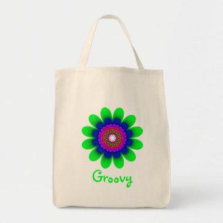 Green Flower Power Groovy Grocery Tote Bag