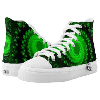 Green Flower Twist Hi Top Printed Shoes