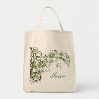 Green Flower Vine Border Canvas Bags