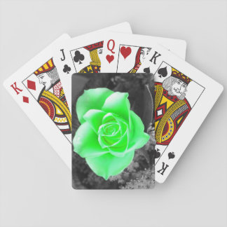 Green Flower with Dark Background (2) Playing Cards