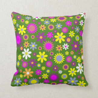 Green Flowers Abstract Throw Pillow Home Decor