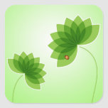 Green Flowers and Ladybug Stickers
