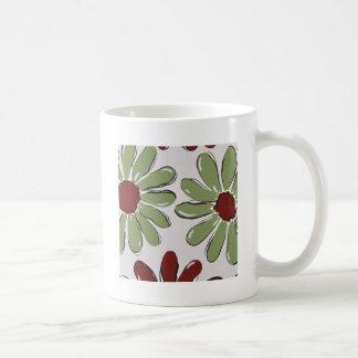 green flowers basic white mug