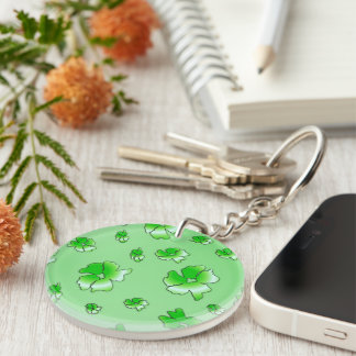 Green Flowers Double-Sided Round Acrylic Key Ring