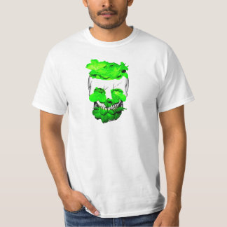Green Flowers In A Skull T-Shirt