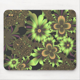 Green Flowers Mouse Mat