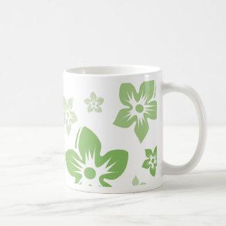 green flowers mug