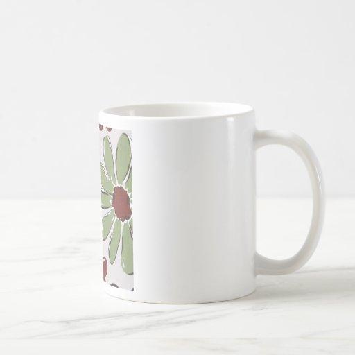 green flowers coffee mugs
