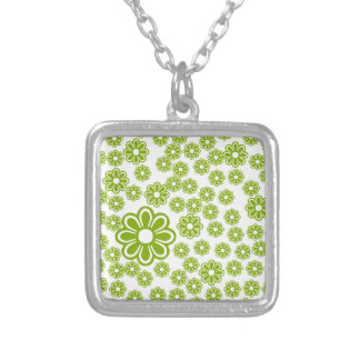 Green flowers square pendant necklace