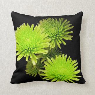 Green Flowers on Black Pillow