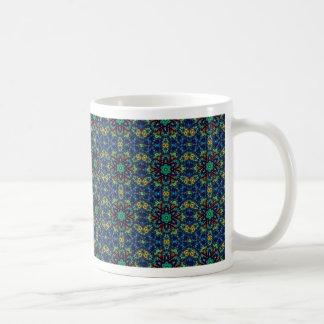 Green Flowers on Blue Background. Beads Pattern Mugs