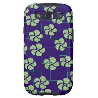 GREEN FLOWERS ON BLUE Samsung Galaxy S 3 Case Samsung Galaxy SIII Covers