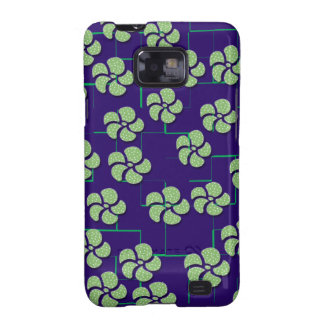 GREEN FLOWERS ON BLUE Samsung Galaxy S II Case Galaxy S2 Covers