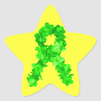 Green Flowers Ribbon Star Sticker