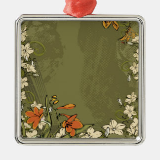Green Flowery Style Silver-Colored Square Decoration